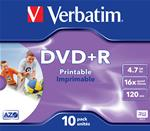 SCATOLA 10 DVD+R JEWEL CASE 16X 4.7GB 120MIN. STAMPABILE WIDE PHOTO INKJET