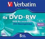 SCATOLA 5 DVD-RW JEWEL CASE 4X 4.7GB 120MIN. SERIGRAFATO